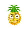 pensive pineapple face cute cartoon emoji vector image vector image
