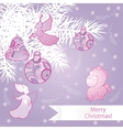 Pink christmas background vector image vector image