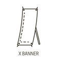 promotional presentation stand x banner isolated vector image