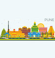 pune skyline with color buildings and blue sky vector image vector image