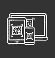 qr codes on different devices chalk icon vector image vector image