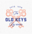retro print effect old keys sign abstract vector image