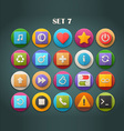 Round Bright Icons with Long Shadow Set 7