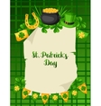 Saint Patricks Day poster Flag pot of gold coins vector image vector image