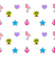 seamless pattern with anchor heart flamingo and vector image vector image