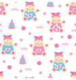 seamless pattern with cute bahippo vector image vector image