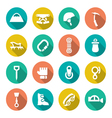 Set flat icons of mountaineering vector image