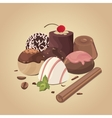 set of chocolate candies composition of vector image vector image