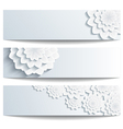 Set of decorative banners with 3d chrysanthemum vector image vector image