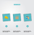 set of france icons flat style symbols with couple vector image