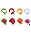 Set of stickers with chef hat and apple vector image