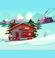 ski resort with house and lifting funicular cabin vector image