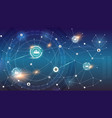social network on background circular hud ui vector image vector image