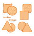 tasty crackers and cookies set vector image