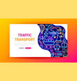 traffic transport neon landing page vector image vector image