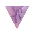 violet watercolor triangle on white background vector image vector image
