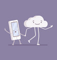 walking cloud and smartphone vector image