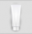 white blank cream bottle template top view with vector image