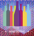 Wine tasting card colored bottles vector image vector image