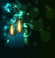Greeting glowing card with candles for Diwali vector image