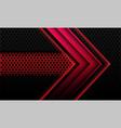 abstract red metallic arrow black circle mesh vector image vector image