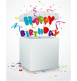 Birthday message box with confetti vector image vector image