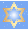 blue background with golden star of David vector image vector image