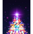 Bright colors bokeh light effect Christmas tree vector image vector image