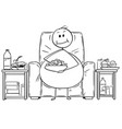 cartoon of fat or overweight man sitting on vector image vector image
