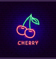 cherry neon label vector image vector image