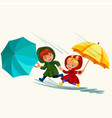 children walking under raining sky