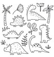 cute dinosaurs and tropic plants vector image