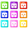 diplomat bag icons 9 set vector image vector image