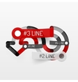 Embossed minimal style line diagram and stickers vector image vector image