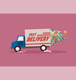 fast delivery truck carrying christmas trees and vector image vector image