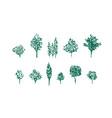 fruit trees linocut set vector image vector image