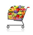 Fruits in shopping cart for your design vector image vector image