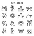 gift icon set in thin line style vector image