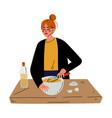 girl cooking in kitchen young woman mixing vector image vector image
