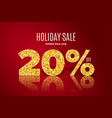 golden holiday sale 20 percent off vector image