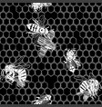 graphic seamless pattern bees crawling on vector image