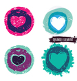 Grunge heart collection vector image vector image