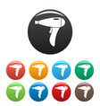hair dryer icons set color vector image