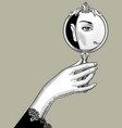 hand holding a mirror with an eye reflection vector image vector image