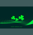 happy saint patricks day green glowing leaves vector image
