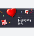 happy valentine s day greeting card on wooden vector image