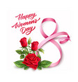 happy womens day lettering 8 march ribbon vector image vector image