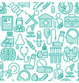 health care seamless pattern with thin line icons vector image