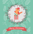 holiday postcard with funny bird sitting on the vector image vector image