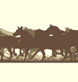 horizontal silhouette herd of horses vector image vector image